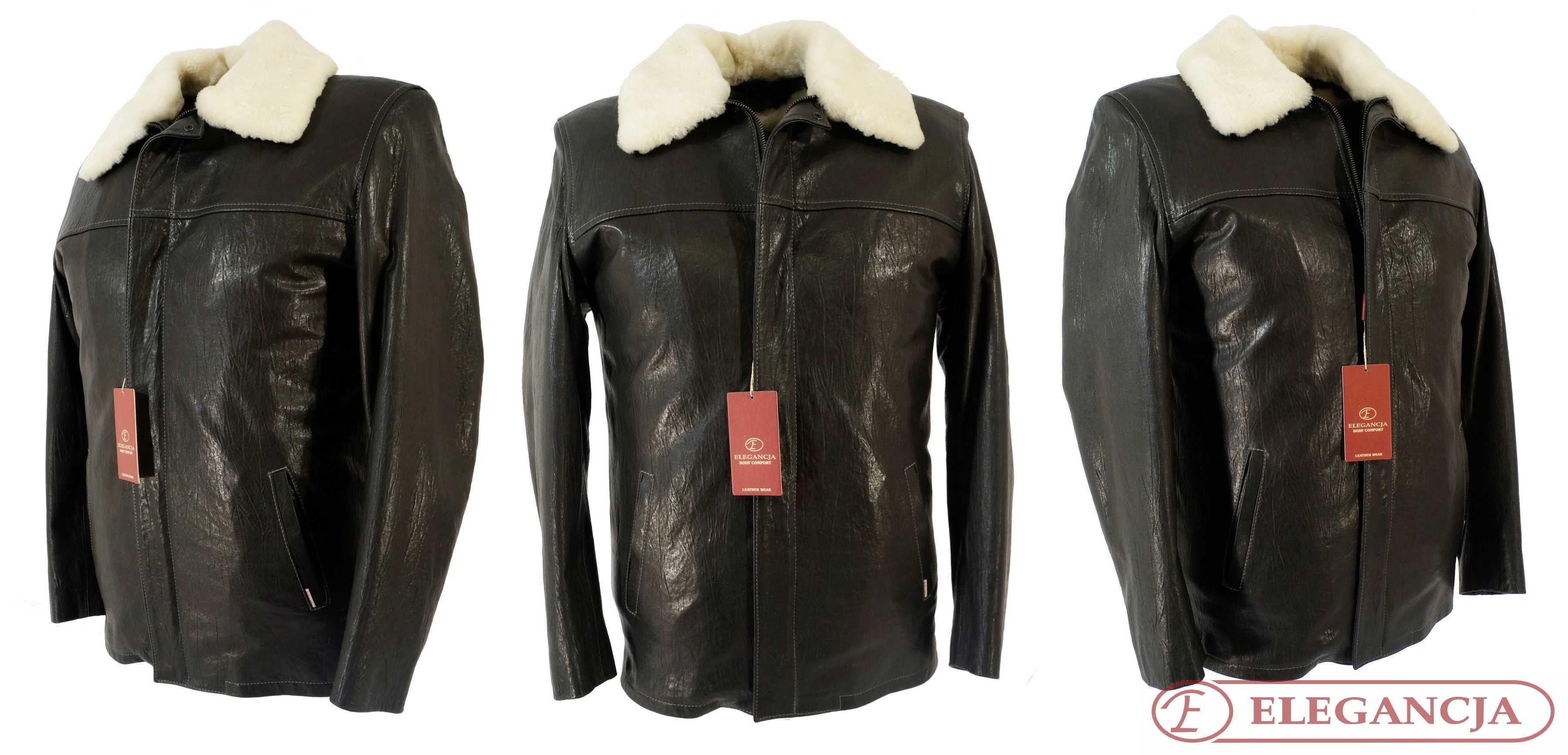 376ac52370701 Doskonała męska kurtka skórzana AKORD z ociepleniem z naturalnego kożucha